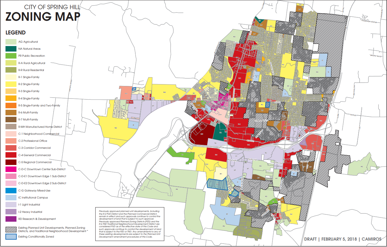 Spring Hill Zoning Map